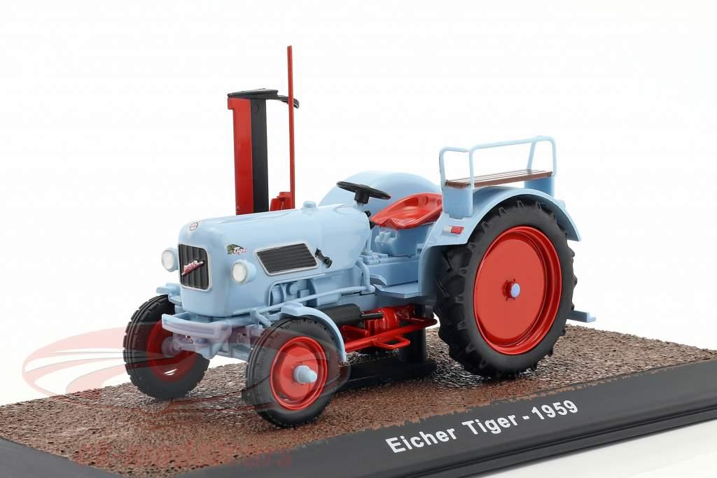 Eicher Tiger tractor year 1959 light blue 1:32 Atlas
