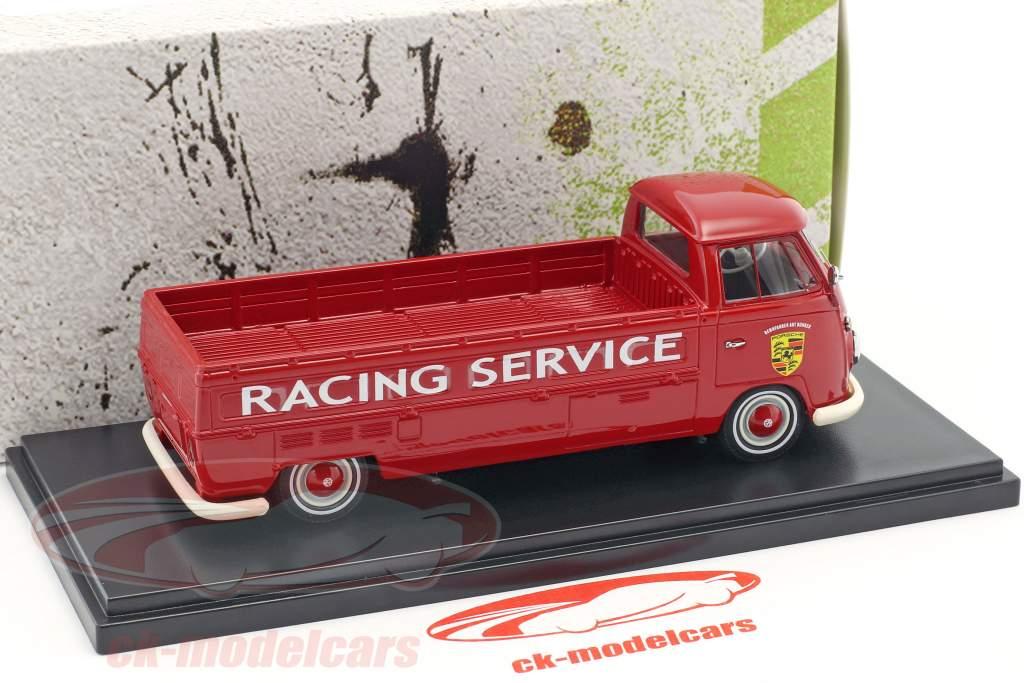 Volkswagen VW T1 long bed Porsche Racing service red 1:43 AutoCult
