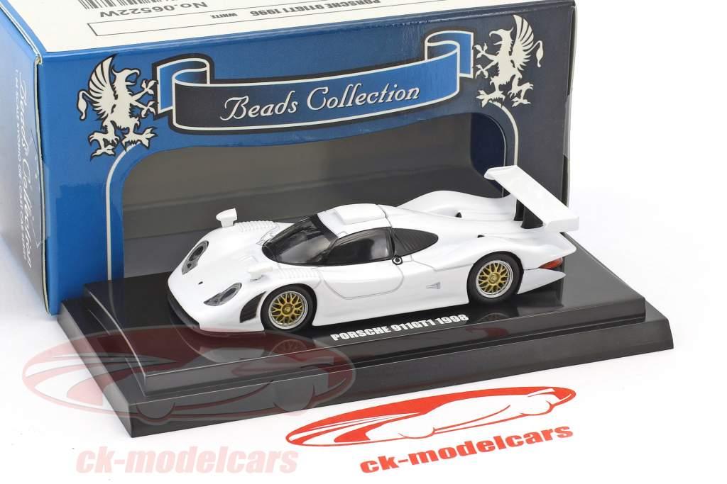 Porsche 911 GT1 year 1998 white 1:64 Kyosho