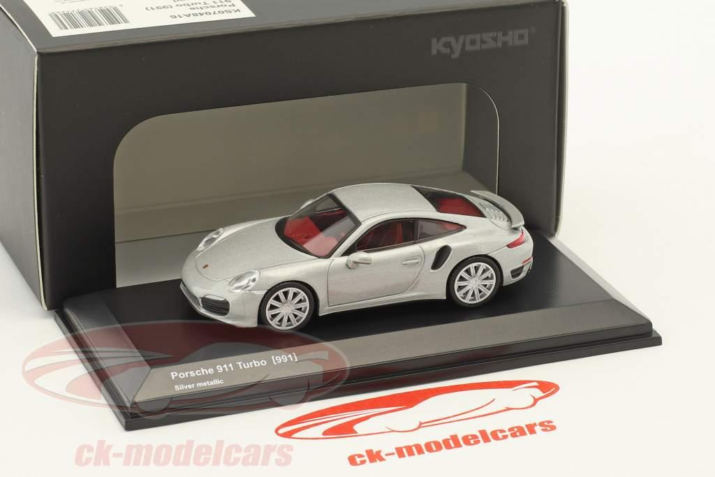 Porsche 911 (991) Turbo argento metallico 1:64 Kyosho