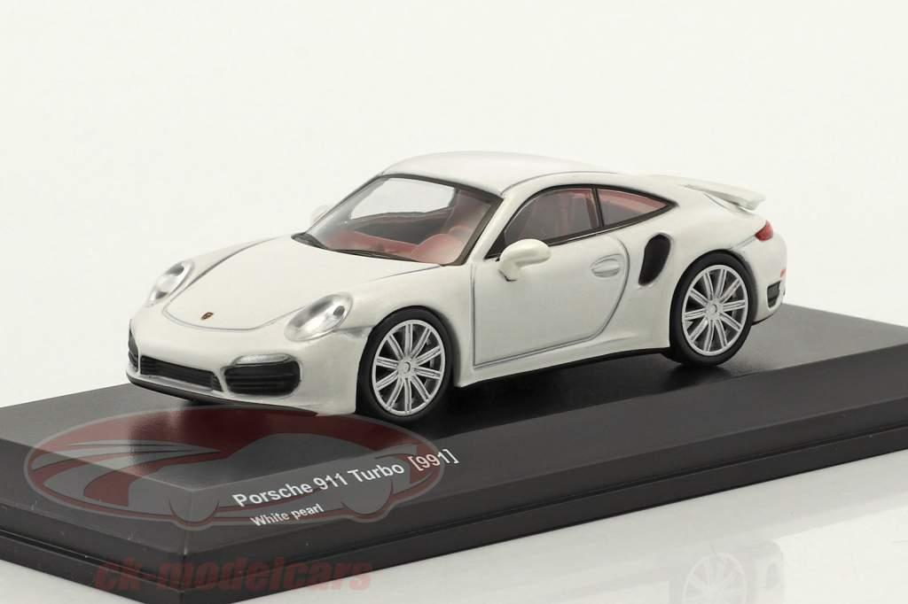 Porsche 911 (991) Turbo perla bianco 1:64 Kyosho