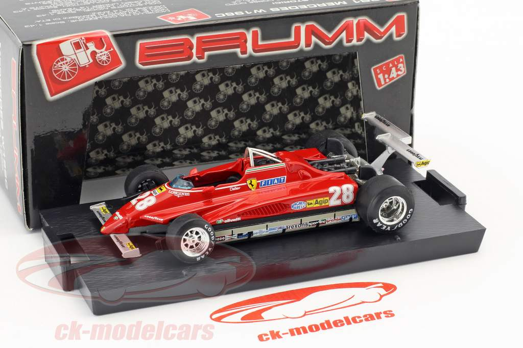 Didier Pironi Ferrari 126C2 #28 winnaar VS GP Long Beach formule 1 1982 1:43 Brumm