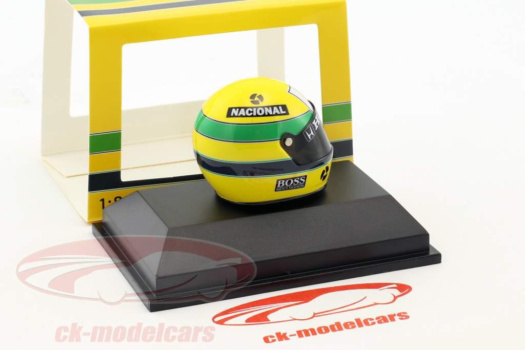 Ayrton Senna McLaren MP4/4 champion du monde Japon GP F1 1988 casque 1:8 Minichamps