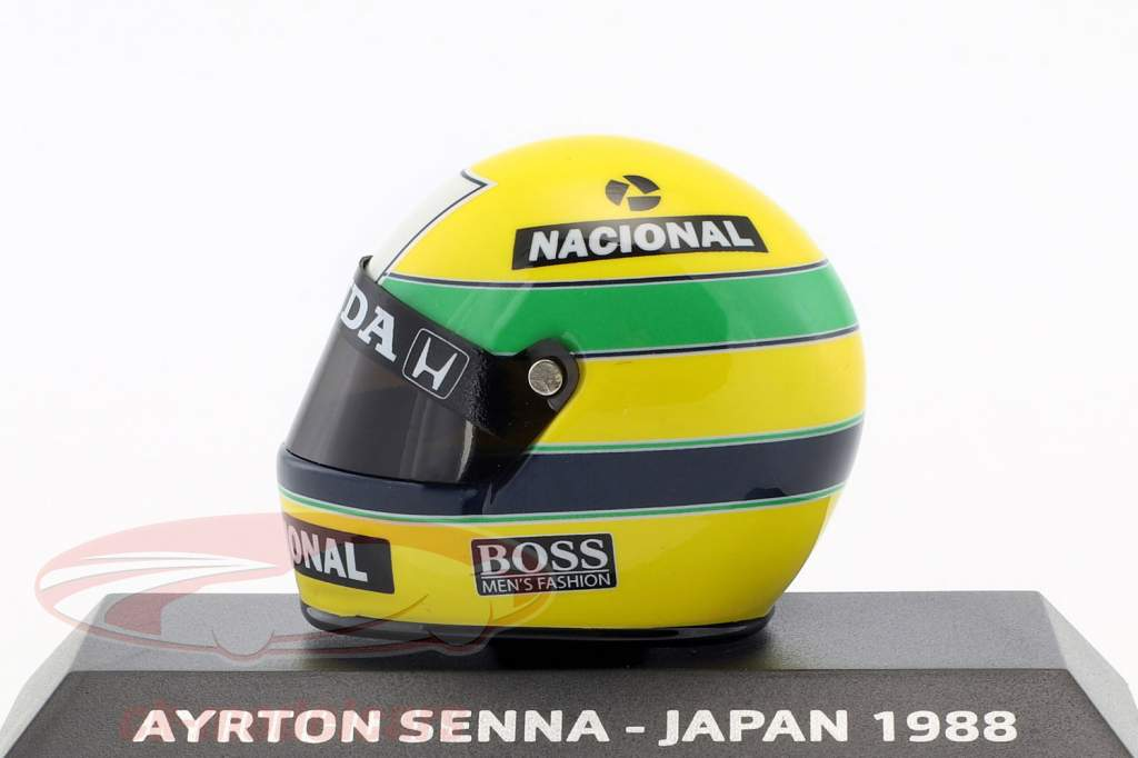 Ayrton Senna McLaren MP4/4 campione del mondo Giappone GP F1 1988 casco 1:8 Minichamps