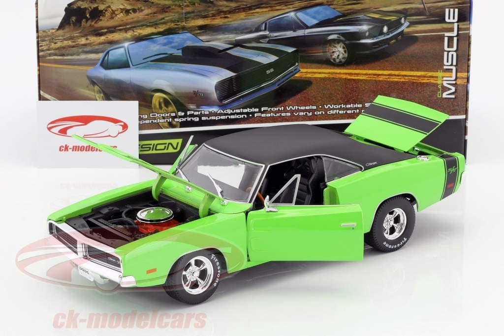 Dodge Charger R/T ano de construção 1969 verde / preto 1:18 Maisto