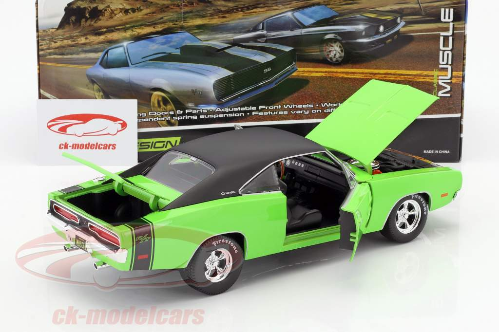 Dodge Charger R/T Bouwjaar 1969 groen / zwart 1:18 Maisto