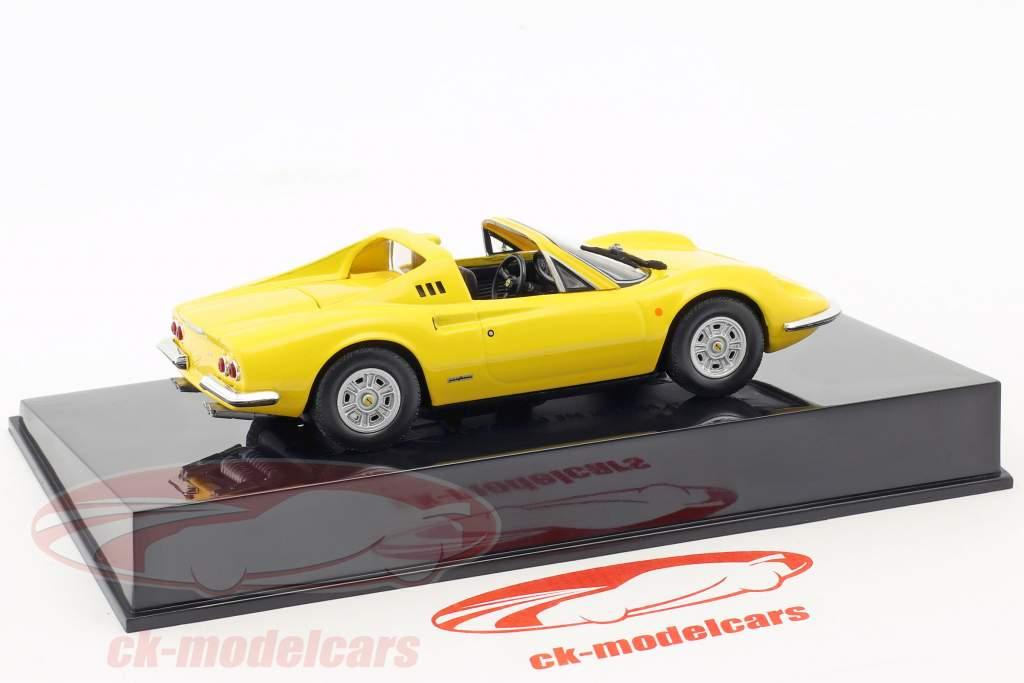 Ferrari Dino 246 GTS gelb mit Vitrine 1:43 Altaya