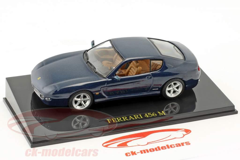 Ferrari 456 M bleu métallique avec vitrine 1:43 Altaya