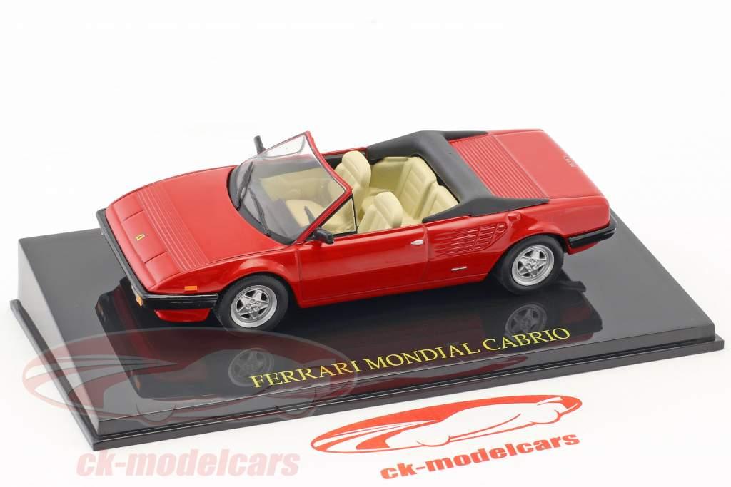 Ferrari Mondial Cabriolet rood met vitrine 1:43 Altaya