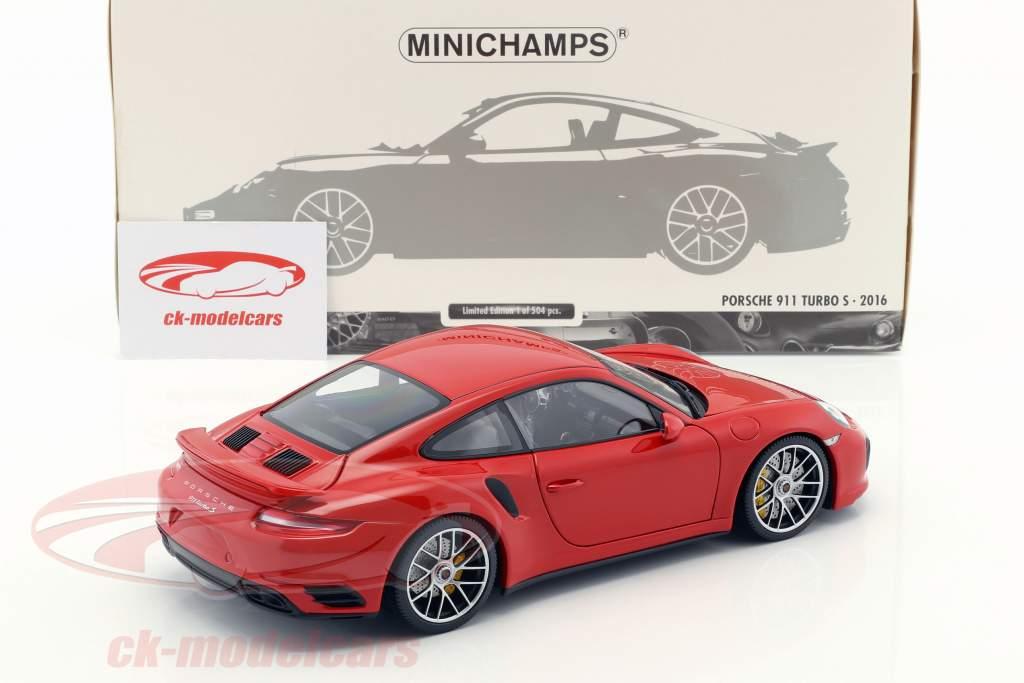 Porsche 911 (991) Turbo S anno di costruzione 2016 rosso 1:18 Minichamps