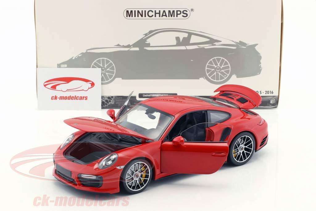 Porsche 911 (991) Turbo S année de construction 2016 rouge 1:18 Minichamps