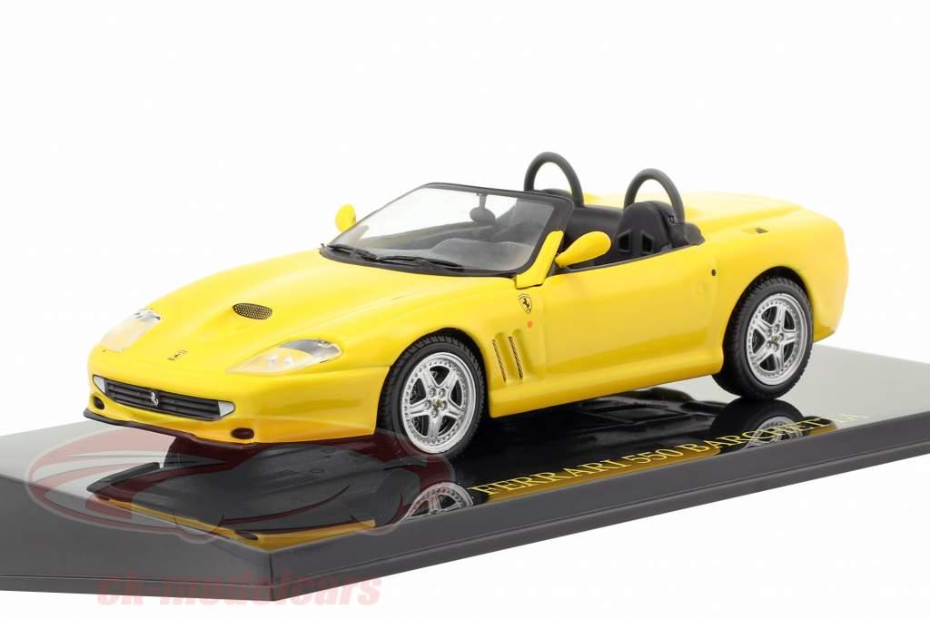 Ferrari 550 Barchetta geel met vitrine 1:43 Altaya