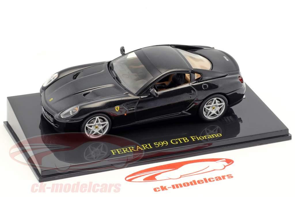 Ferrari 599 GTB Fiorano zwart met vitrine 1:43 Altaya