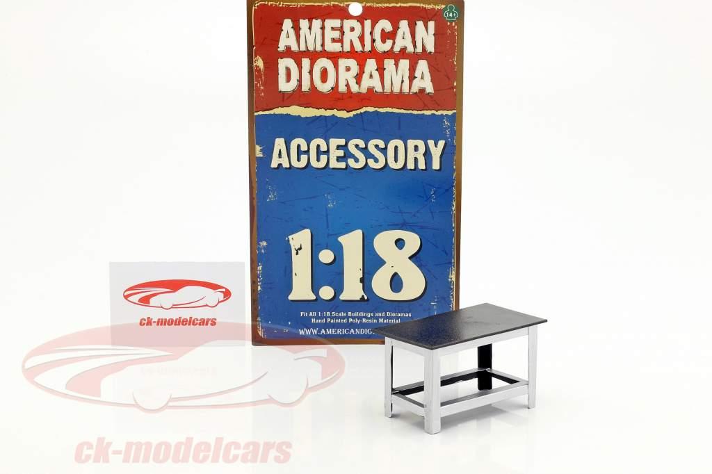 Werkbank silber / schwarz 1:18 American Diorama