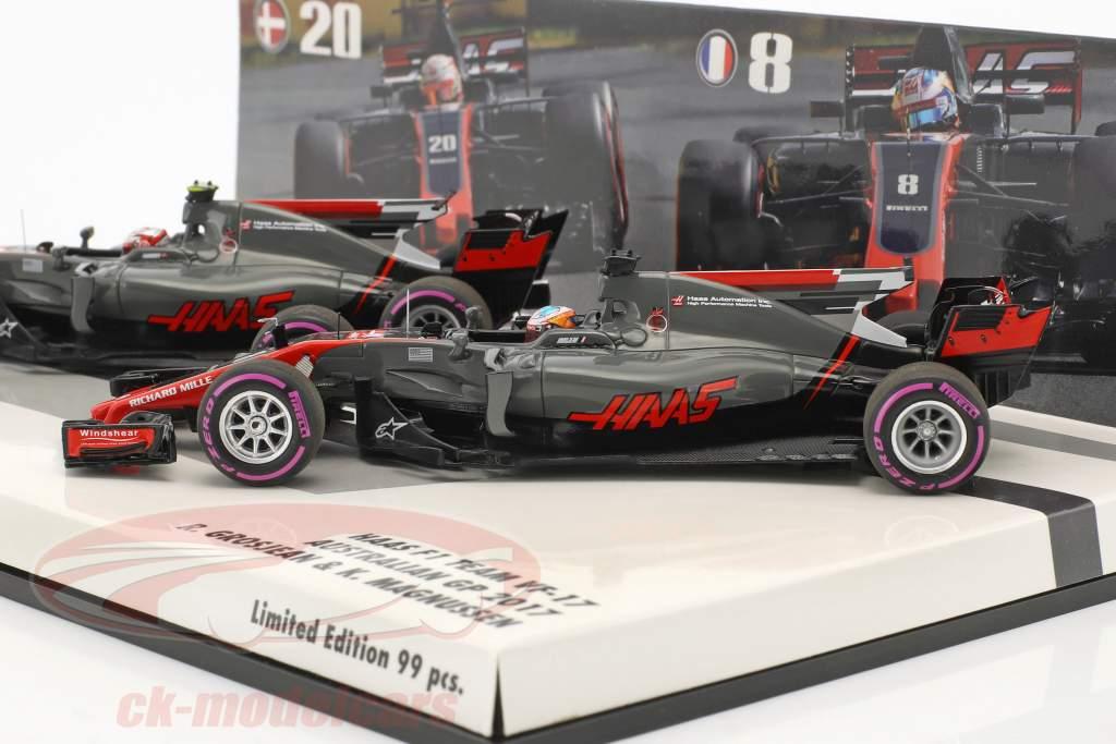 R. Grosjean #8 & K. Magnussen #20 2-Car Set Haas VF-17 Formel 1 2017 1:43 Minichamps