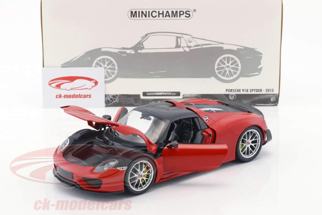 Porsche 918 Spyder Weissach Package year 2015 red 1:18 Minichamps