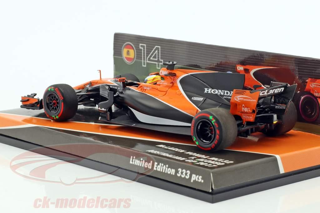 Fernando Alonso McLaren MCL32 #14 Australien GP Formel 1 2017 1:43 Minichamps