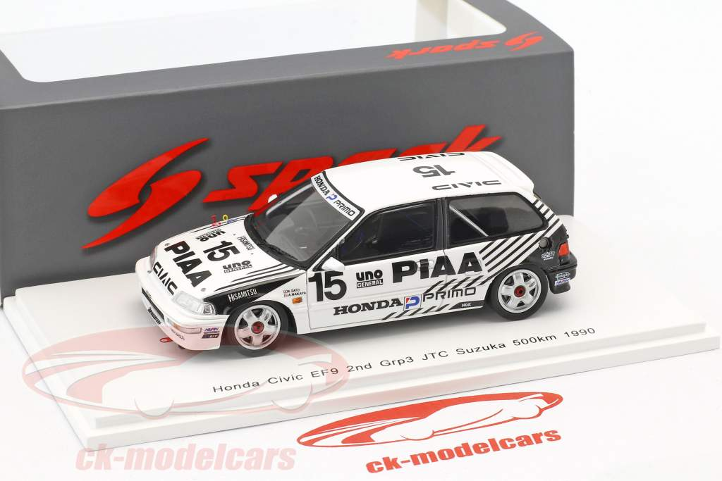 Honda Civic EF9 #15 2nd Grp3 JTC Suzuka 500km 1990 Nakaya, Sato 1:43 Spark