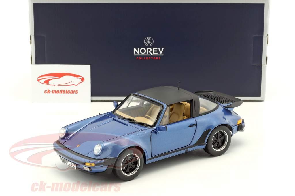 Porsche 911 Turbo Targa 3.3 year 1987 blue metallic 1:18 Norev