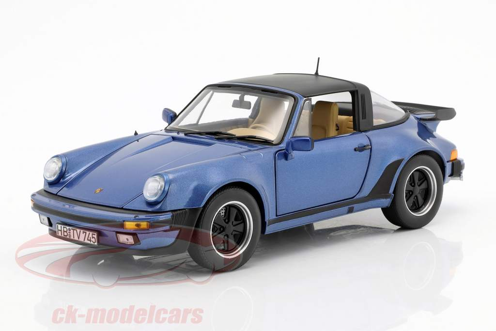 Porsche 911 Turbo Targa 3.3 Baujahr 1987 blau metallic 1:18 Norev