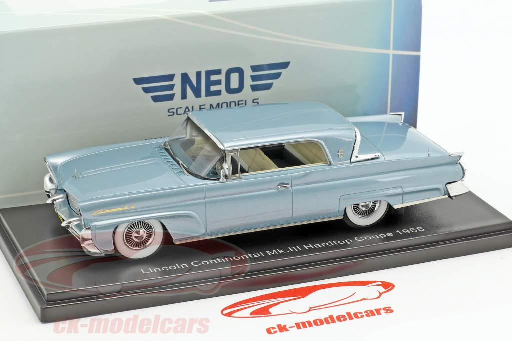 Lincoln Continental Mk. III Hardtop Coupe year 1958 light blue metallic 1:43 Neo