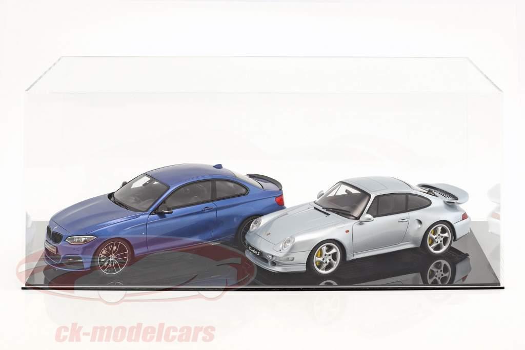 Hochwertige Vitrine für 1 Modellauto im Maßstab 1:12 oder 2 Modellautos im Maßstab 1:18 schwarz SAFE