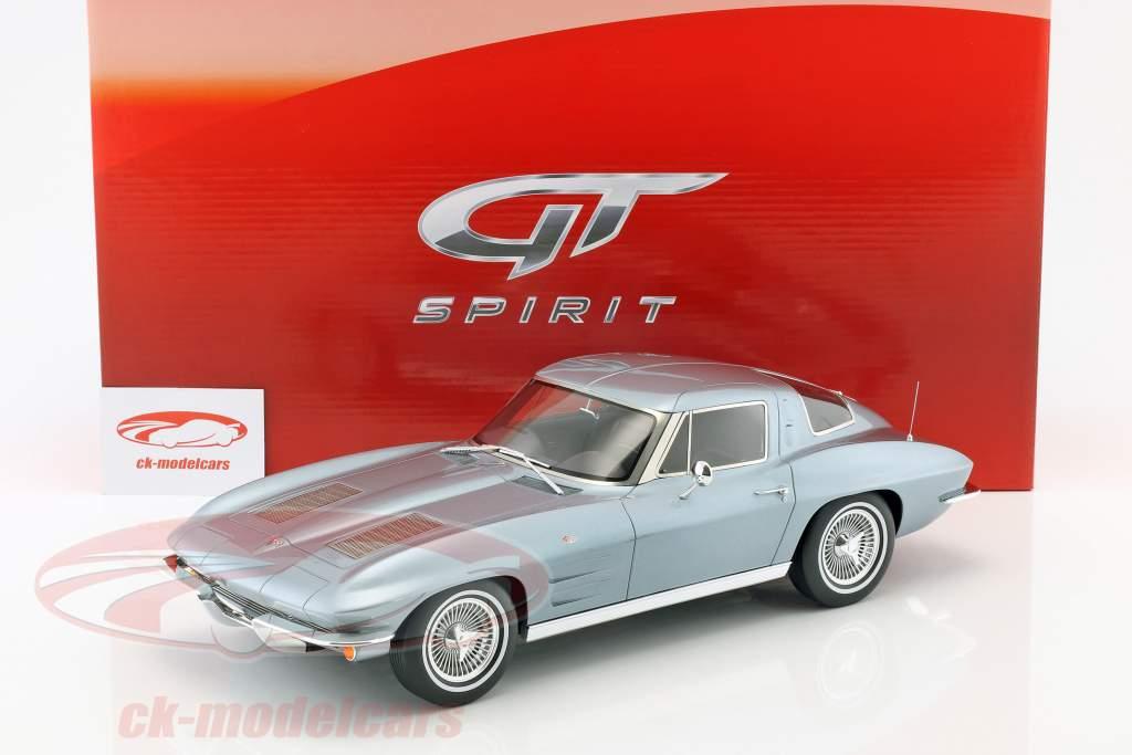 Chevrolet Corvette year 1963 silver blue metallic 1:12 GT-Spirit