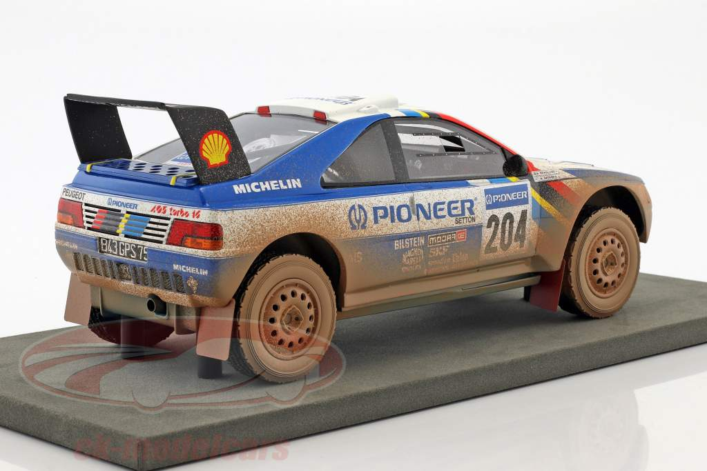 Peugeot 405 T16 Dirty Version #204 Winner Paris - Dakar 1989 Vatanen, Berglund 1:18 TopMarques