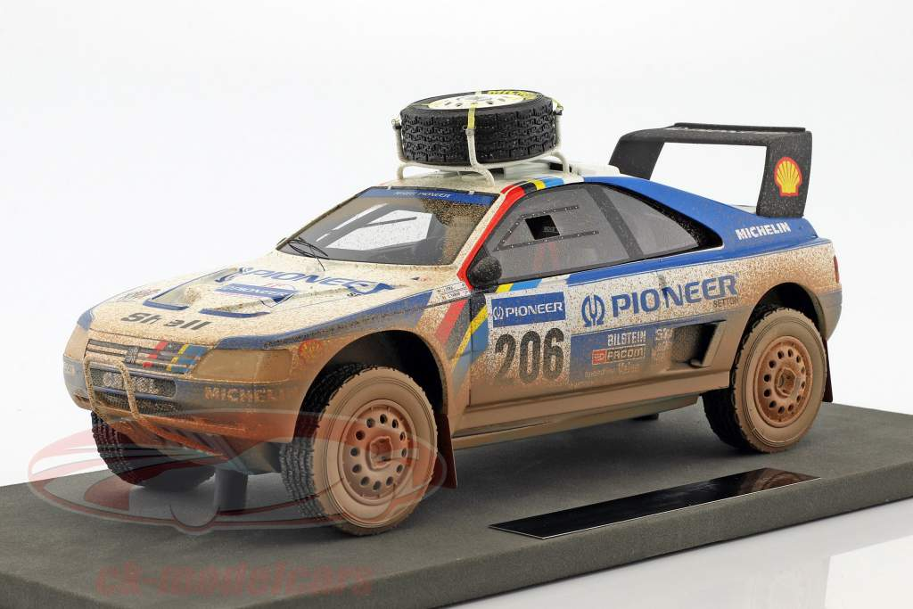 Peugeot 405 T16 Dirty Version #206 2 ° Paris - Dakar 1989 Ickx, Tarin 1:18 TopMarques