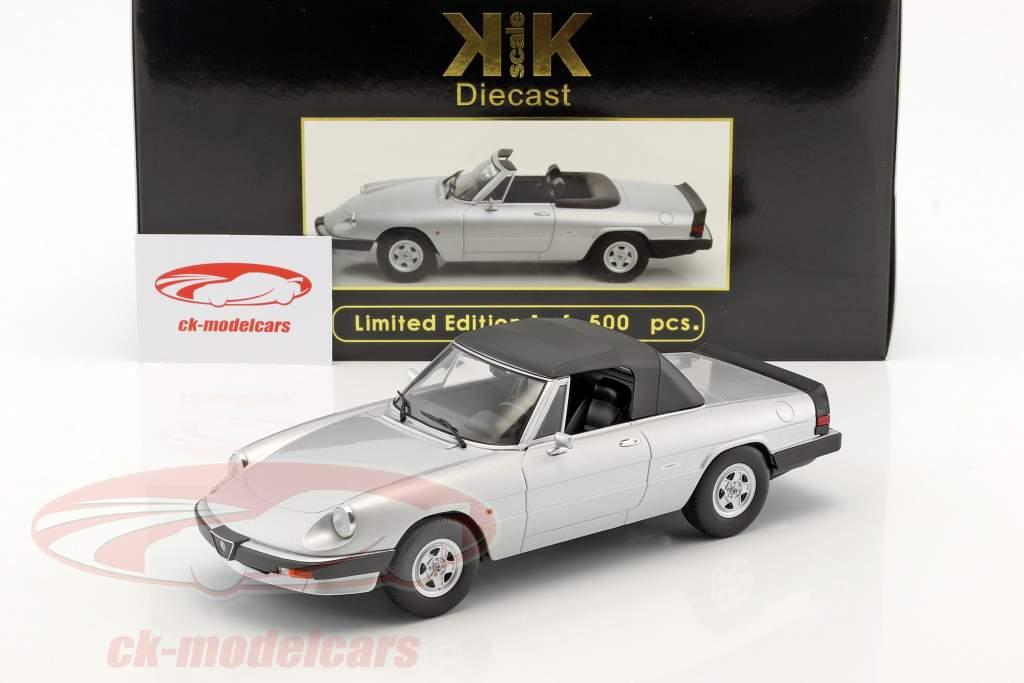 Alfa Romeo Spider 3 serie 2 con removibile softtop anno di costruzione 1986 argento 1:18 KK-Scale
