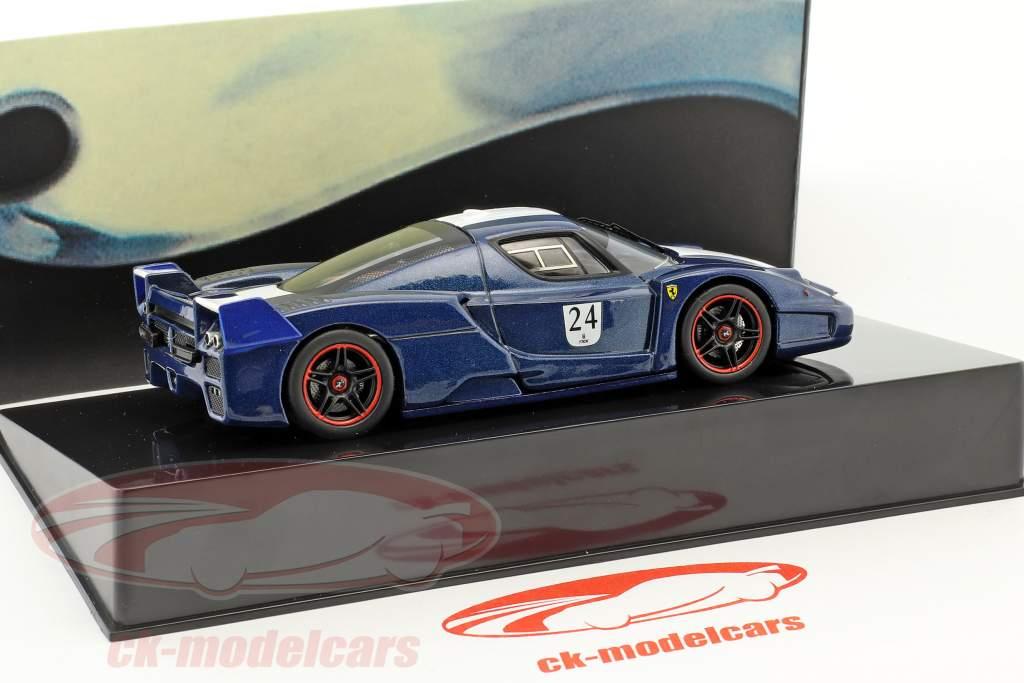 Ferrari FXX  #24 année de construction 2006 Tour de France bleu avec blanc rayures 1:43 HotWheels Elite