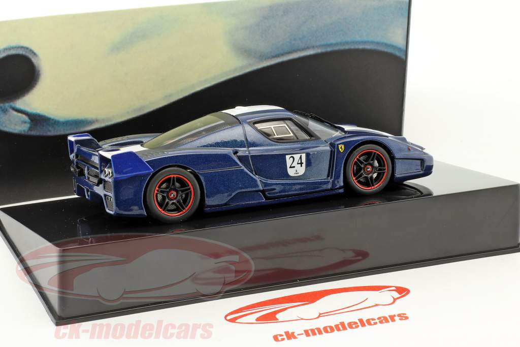 Ferrari FXX  #24 Bouwjaar 2006 Tour de France blauw met wit strepen 1:43 HotWheels Elite