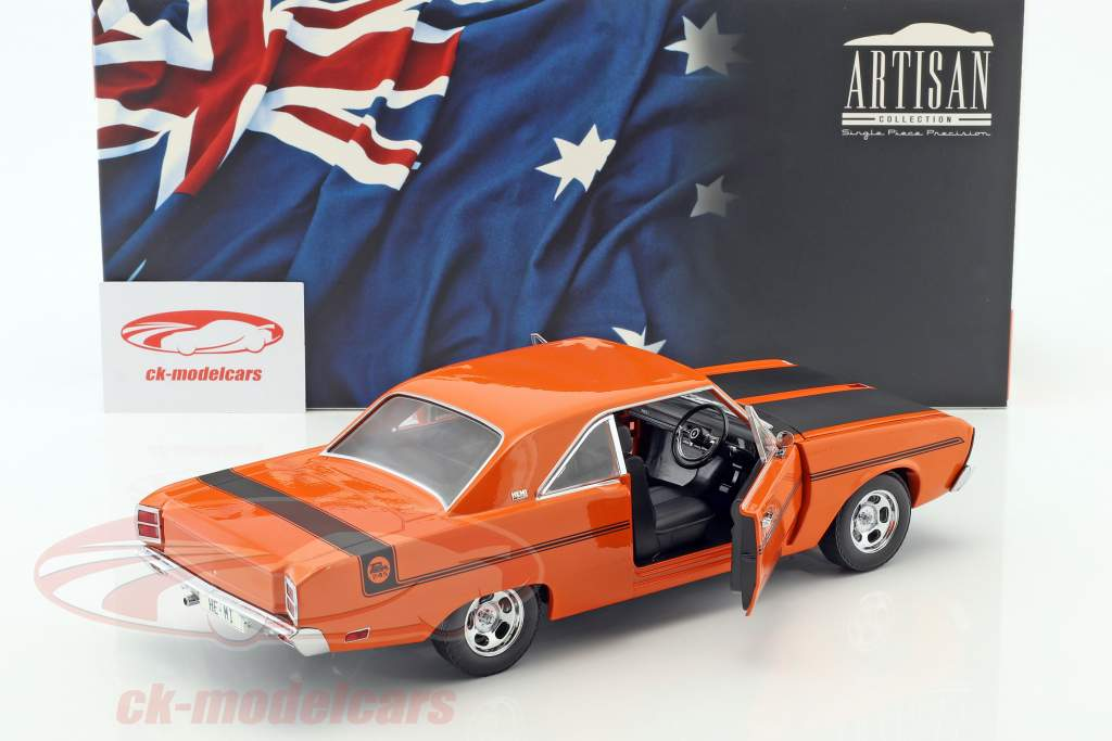 Chrysler Valiant VG année de construction 1970 orange / noir 1:18 Greenlight