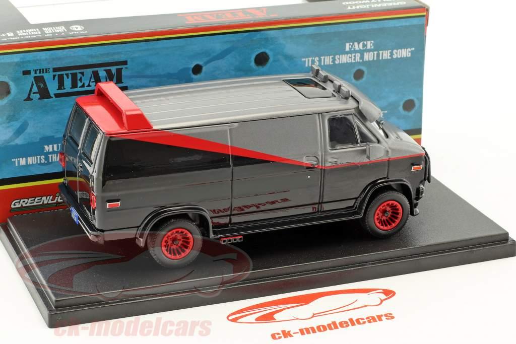 B.A.'s GMC Vandura año de construcción 1983 series de televisión la A-Team (1983-87) negro / rojo / gris 1:43 Greenlight