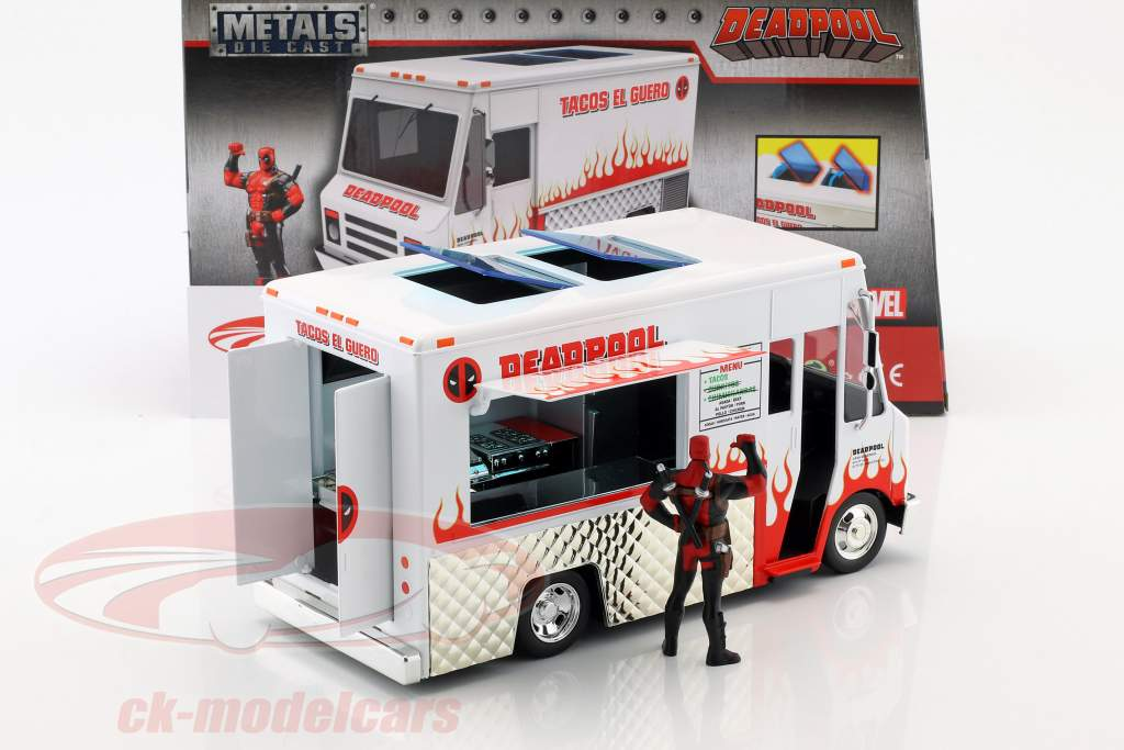 Taco Truck Film Deadpool (2016) weiß / rot mit Figur 1:24 Jada Toys