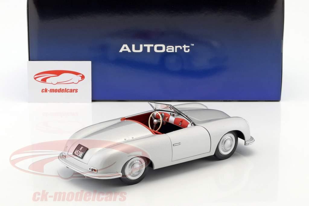 Porsche 356 nummer 1 Bouwjaar 1948 zilver 1:18 AUTOart