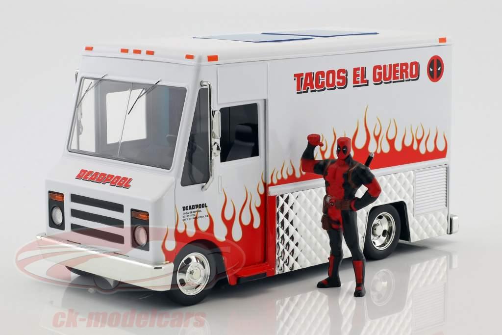 Taco Truck film Deadpool (2016) bianco / rosso con cifra 1:24 Jada Toys