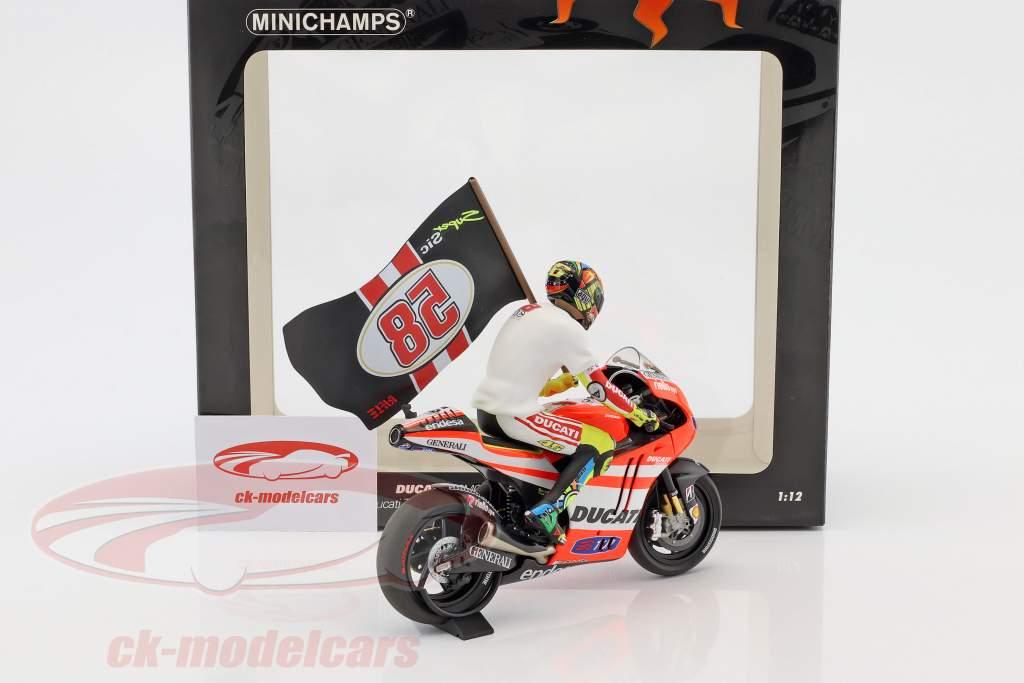 Valentino Rossi Ducati Desmosedici GP 11.2 #46 Valencia MotoGP 2011 Tribute to Marco 1:12 Minichamps