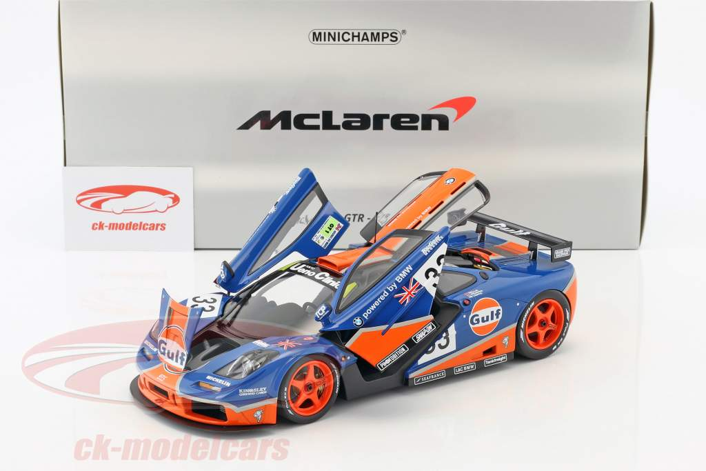 McLaren F1 GTR Gulf Racing #33 9 24h LeMans 1996 Bellm, Lehto, Weaver 1:18 Minichamps