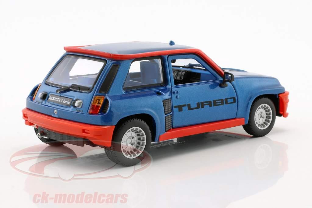 Renault 5 Turbo year 1982 blue / red 1:24 Bburago