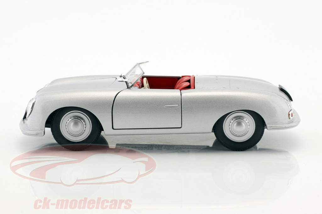 Porsche 356 Nr. 1 med nummerplade Opførselsår 1948 sølv 1:24 Welly