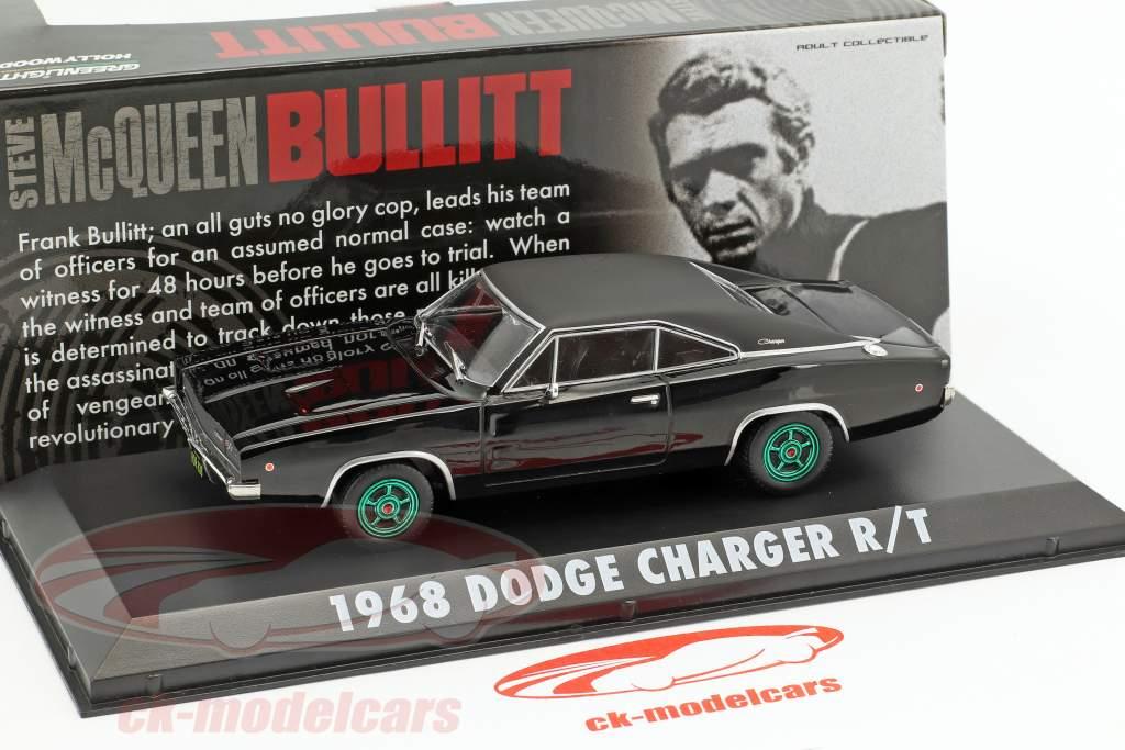 Dodge Charger R / T Steve McQueen película Bullitt (1968) negro / verde llantas 1:43 Greenlight