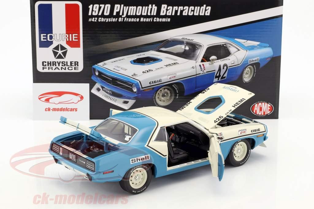Plymouth Barracuda Trans Am #42 year 1970 Henri Chemin 1:18 GMP