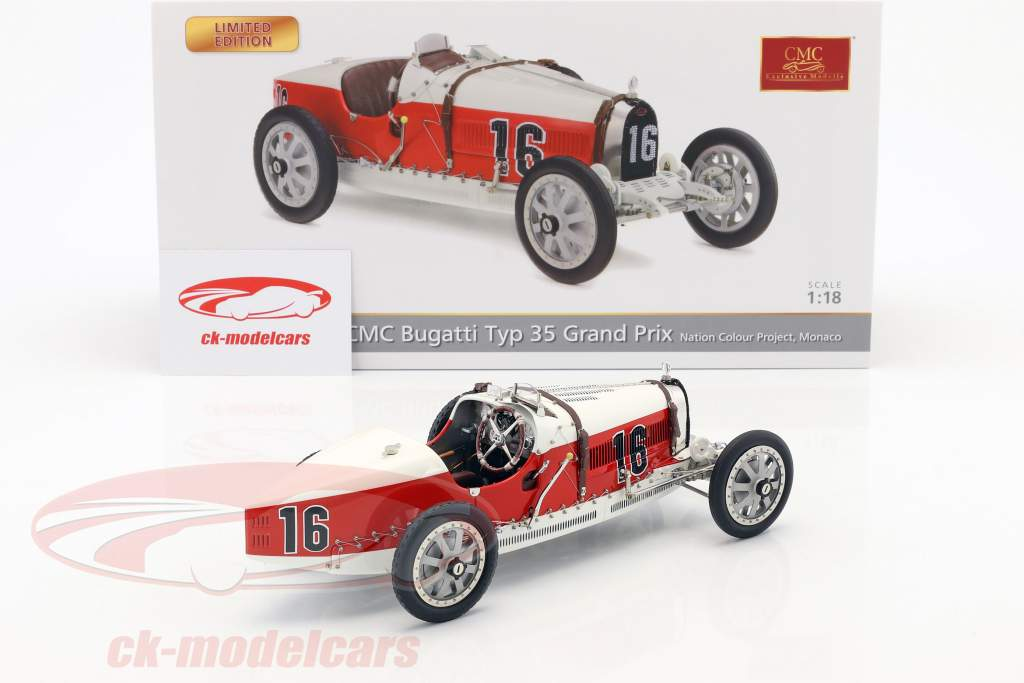 Bugatti tipo 35 Grand Prix #16 Nation Colour Project monaco 1:18 CMC