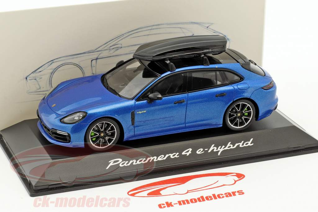 Porsche Panamera 4 E-Hybrid ST with roof box blue metallic 1:43 Spark