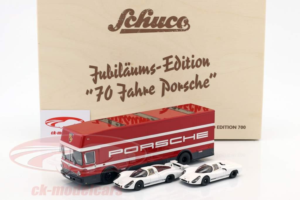 3-Car Set 70 Jahre Porsche mit Mercedes-Benz O317 Renntransporter und 2x Porsche 908 1:43 Schuco