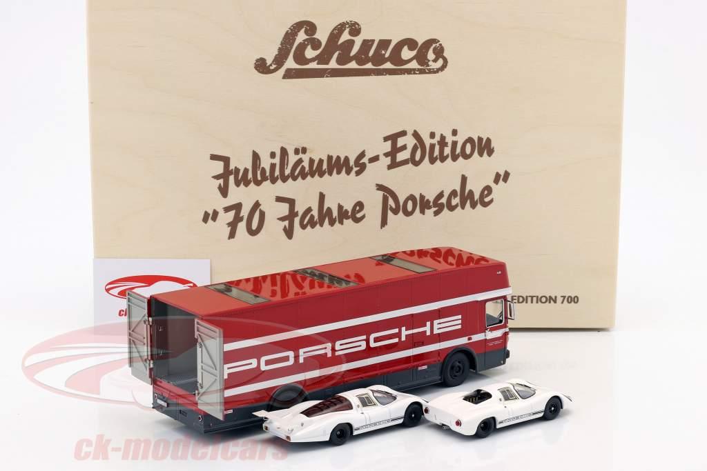 3-Car Set 70 ans Porsche avec Mercedes-Benz O317 Renntransporter et 2x Porsche 908 1:43 Schuco
