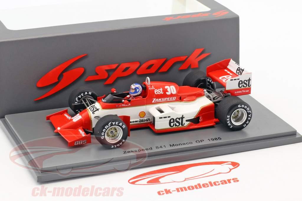 Jonathan Palmer Zakspeed 841 #30 Monaco GP Formule 1 1985 1:43 Spark