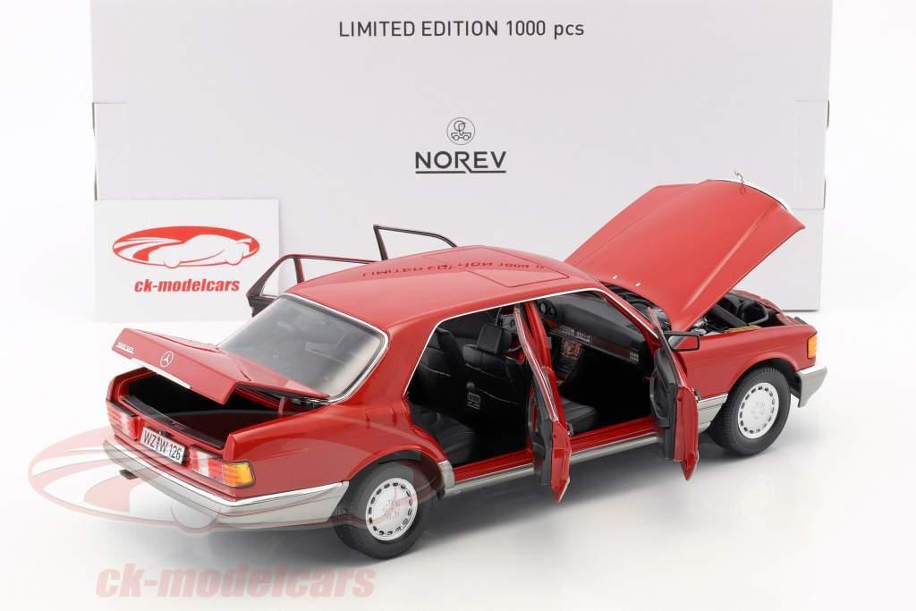 Mercedes-Benz 560 SEL W126 année de construction 1987 rouge 1:18 Norev