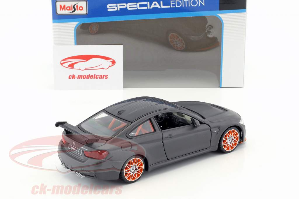 BMW M4 GTS esteira preto com laranja jantes 1:24 Maisto